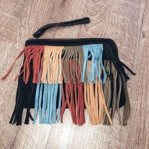 Fringe clutch purse